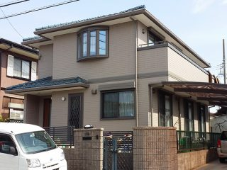 春日井市S様邸、外壁塗装工事、完工後外観全景写真