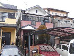春日井市F様邸、外壁塗替え工事、施工前、全景画像