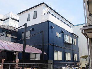 名古屋市U様邸、外壁塗替え工事、施工後、全景画像