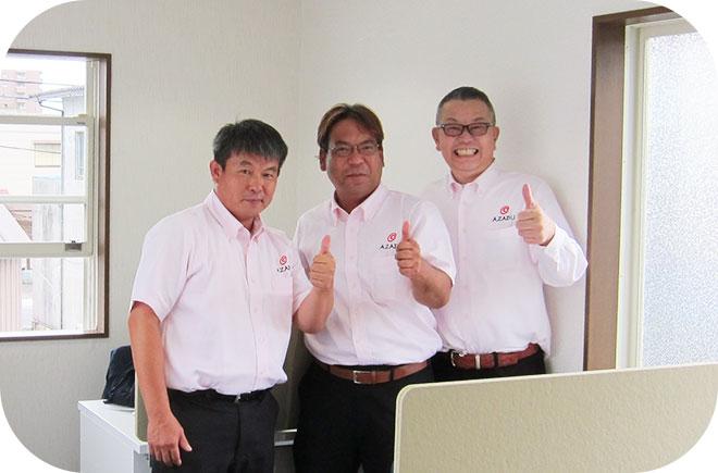 四日市営業大野所長(中) 石井代表(左) 池田大平(右)